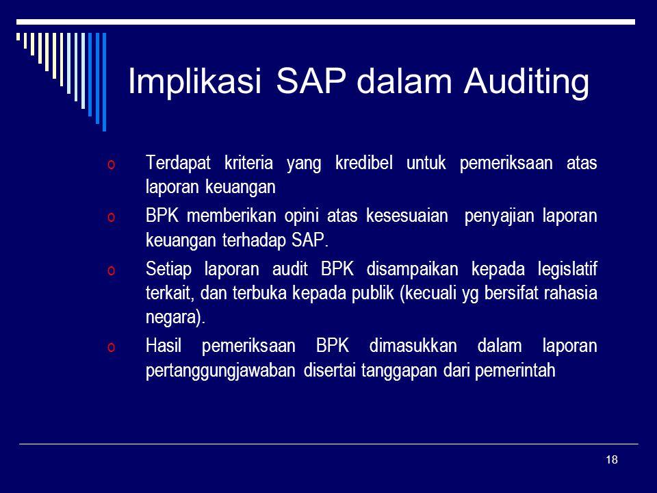 18 Implikasi SAP dalam Auditing o Terdapat kriteria yang kredibel untuk pemeriksaan atas laporan keuangan o BPK memberikan opini atas kesesuaian penyajian laporan keuangan terhadap SAP.