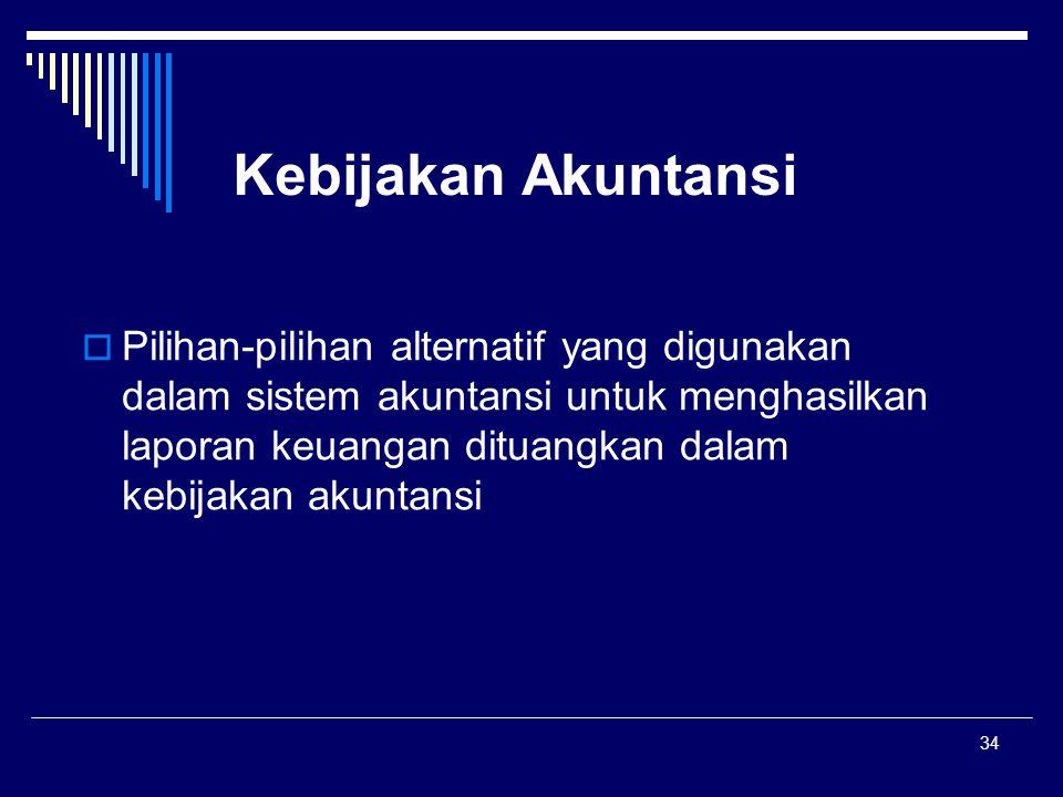 34 Kebijakan Akuntansi  Pilihan-pilihan alternatif yang digunakan dalam sistem akuntansi untuk menghasilkan laporan keuangan dituangkan dalam kebijakan akuntansi