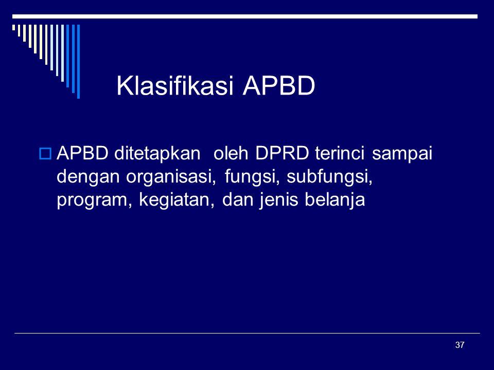 37 Klasifikasi APBD  APBD ditetapkan oleh DPRD terinci sampai dengan organisasi, fungsi, subfungsi, program, kegiatan, dan jenis belanja