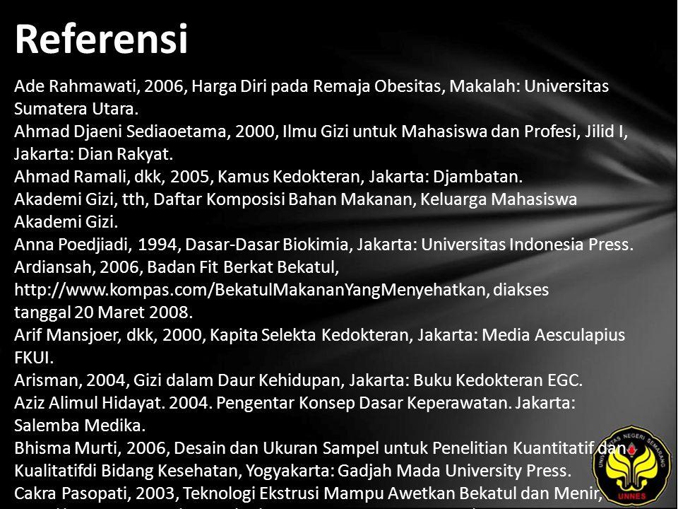 Referensi Ade Rahmawati, 2006, Harga Diri pada Remaja Obesitas, Makalah: Universitas Sumatera Utara.
