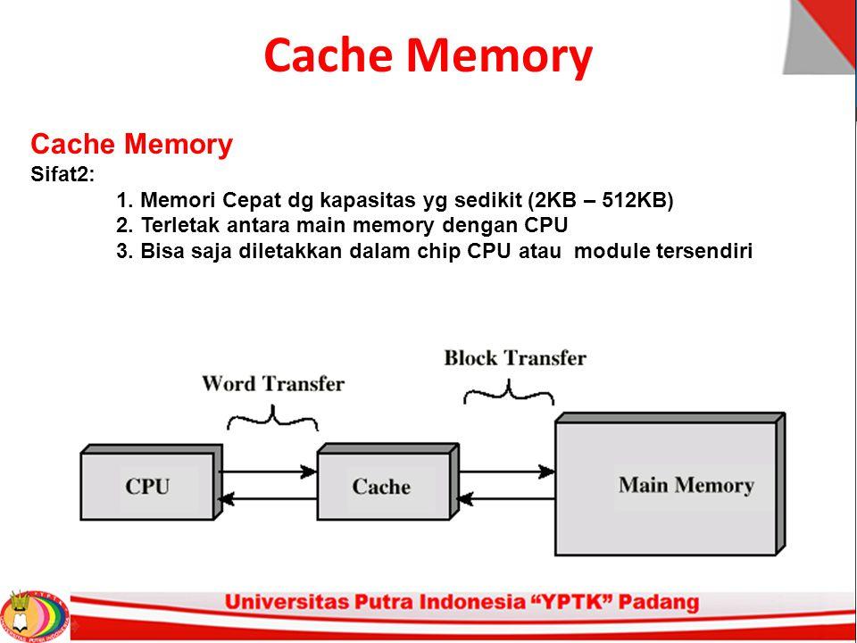 Cache Memory Sifat2: 1. Memori Cepat dg kapasitas yg sedikit (2KB – 512KB) 2. Terletak antara main memory dengan CPU 3. Bisa saja diletakkan dalam chi