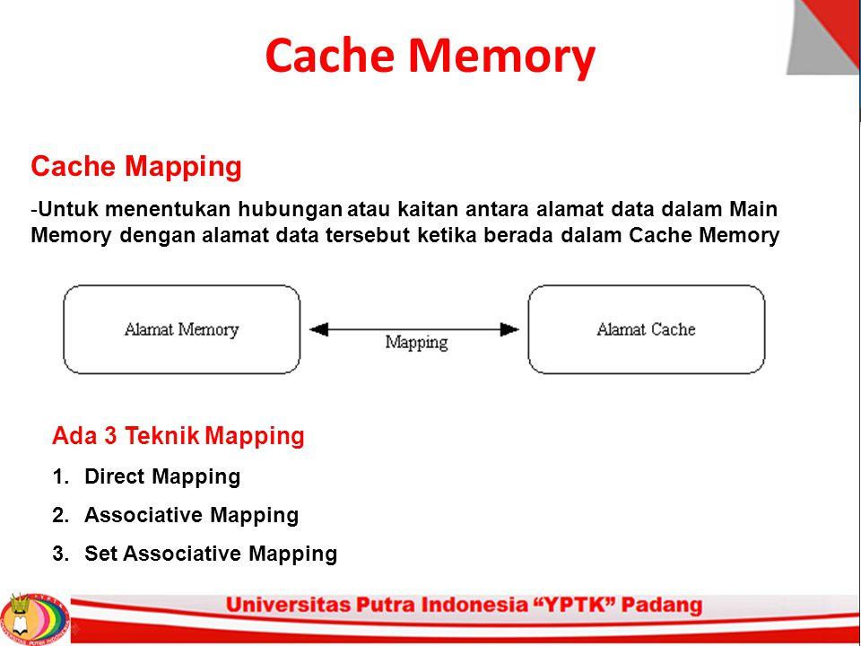Cache Memory Cache Mapping -Untuk menentukan hubungan atau kaitan antara alamat data dalam Main Memory dengan alamat data tersebut ketika berada dalam