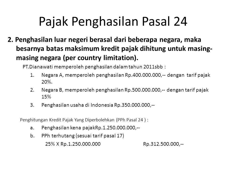 Pajak Penghasilan Pasal 24 Batas maksimum kredit pajak (pph psal 24) masing-masing negara : - Negara A : - PPh terhutang di negara A : 20% X Rp.400.000.000 = Rp.