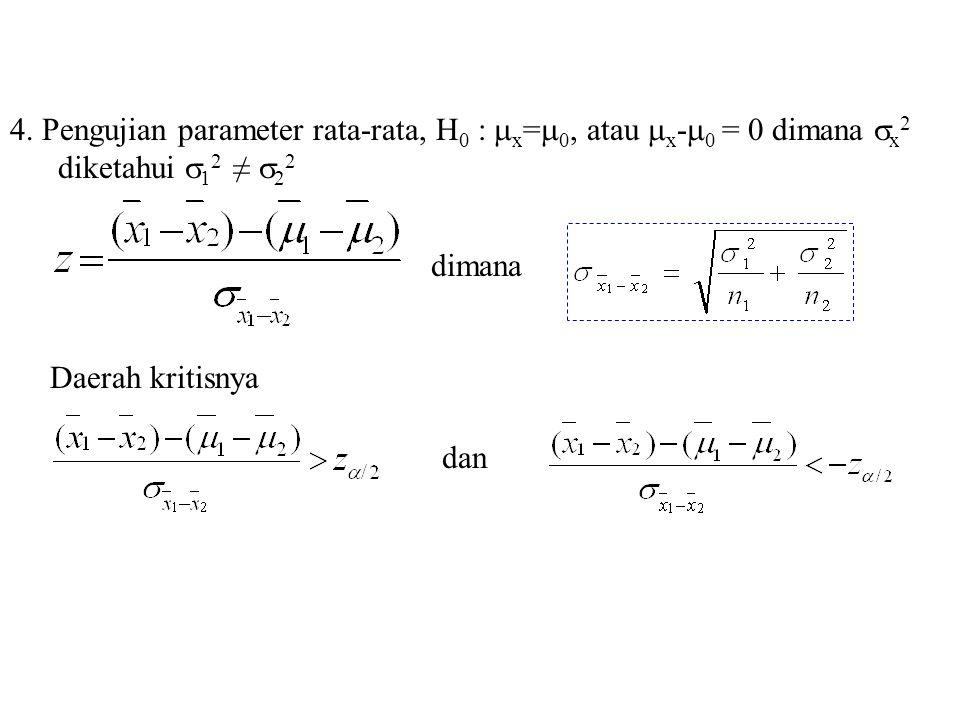 4. Pengujian parameter rata-rata, H 0 :  x =  0, atau  x -  0 = 0 dimana  x 2 diketahui  1 2 ≠  2 2 dimana Daerah kritisnya dan
