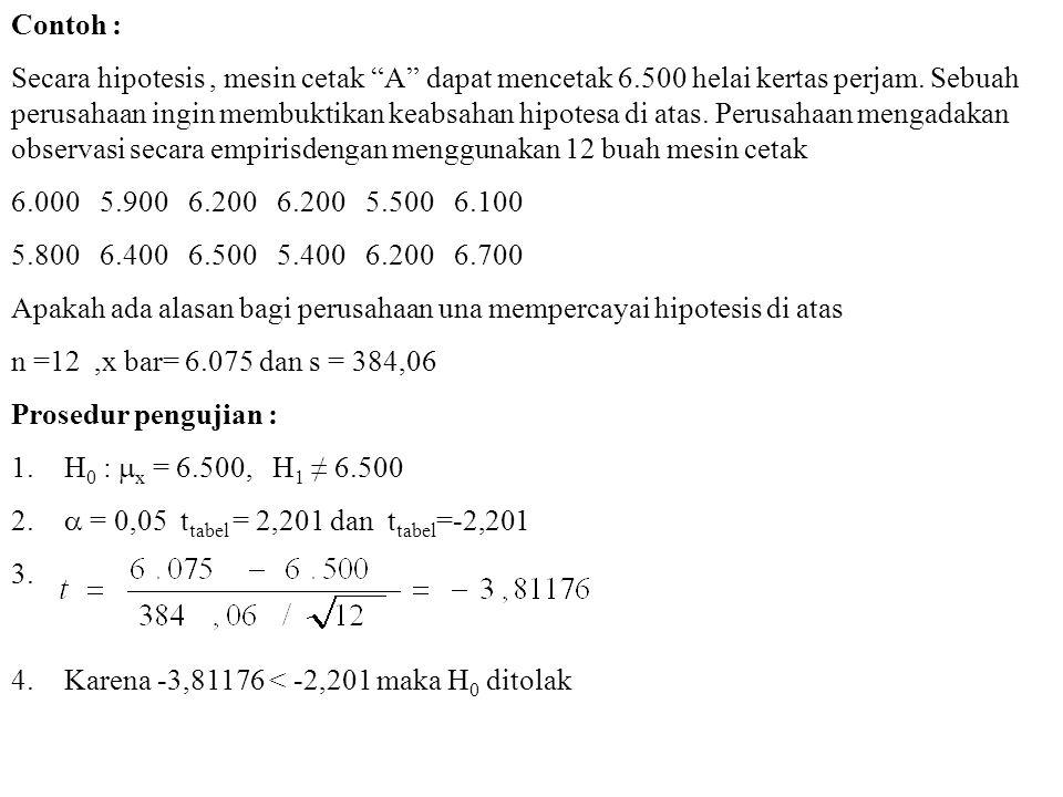Contoh : Secara hipotesis, mesin cetak A dapat mencetak 6.500 helai kertas perjam.