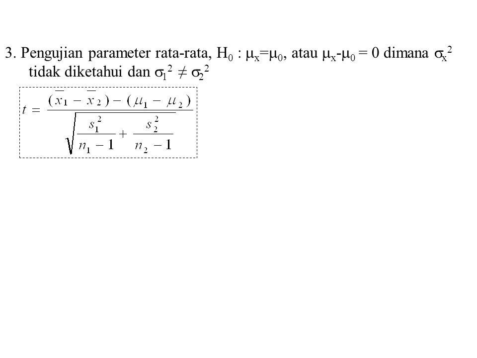 3. Pengujian parameter rata-rata, H 0 :  x =  0, atau  x -  0 = 0 dimana  x 2 tidak diketahui dan  1 2 ≠  2 2
