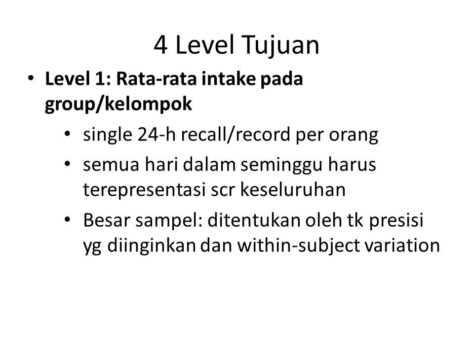 4 Level Tujuan Level 1: Rata-rata intake pada group/kelompok single 24-h recall/record per orang semua hari dalam seminggu harus terepresentasi scr ke