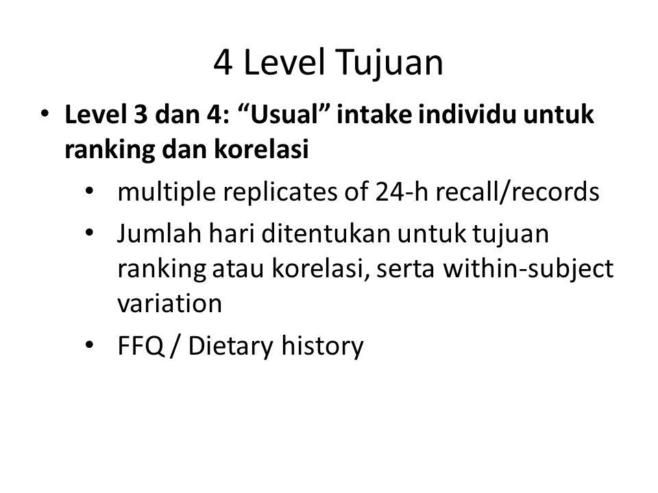 """4 Level Tujuan Level 3 dan 4: """"Usual"""" intake individu untuk ranking dan korelasi multiple replicates of 24-h recall/records Jumlah hari ditentukan unt"""