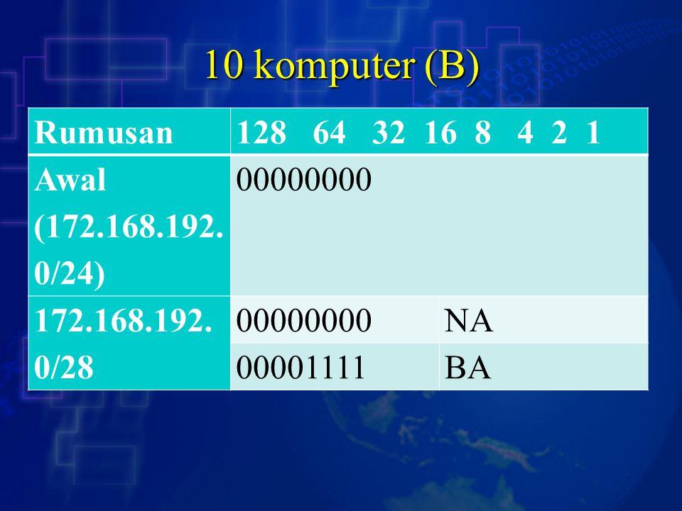 10 komputer (B) Rumusan128 64 32 16 8 4 2 1 Awal (172.168.192.