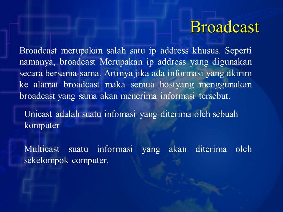 Broadcast Broadcast merupakan salah satu ip address khusus.