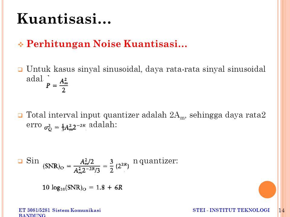 ET 3081/5281 Sistem KomunikasiSTEI - INSTITUT TEKNOLOGI BANDUNG 14  Perhitungan Noise Kuantisasi…  Untuk kasus sinyal sinusoidal, daya rata-rata sinyal sinusoidal adalah:  Total interval input quantizer adalah 2A m, sehingga daya rata2 error quantisasi adalah:  Sinyal to noise ratio keluaran quantizer: Kuantisasi…