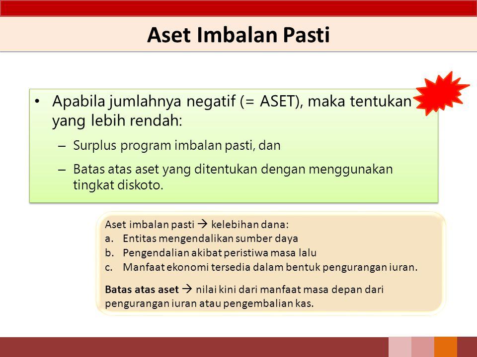Aset Imbalan Pasti Apabila jumlahnya negatif (= ASET), maka tentukan yang lebih rendah: – Surplus program imbalan pasti, dan – Batas atas aset yang di