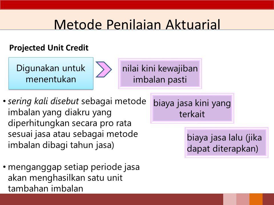 Metode Penilaian Aktuarial Projected Unit Credit Digunakan untuk menentukan nilai kini kewajiban imbalan pasti biaya jasa kini yang terkait biaya jasa