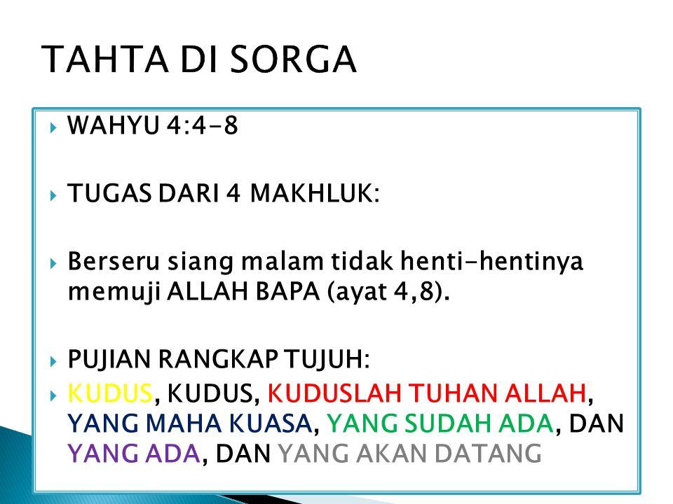  WAHYU 4:4-8  TUGAS DARI 4 MAKHLUK:  Berseru siang malam tidak henti-hentinya memuji ALLAH BAPA (ayat 4,8).  PUJIAN RANGKAP TUJUH:  KUDUS, KUDUS,
