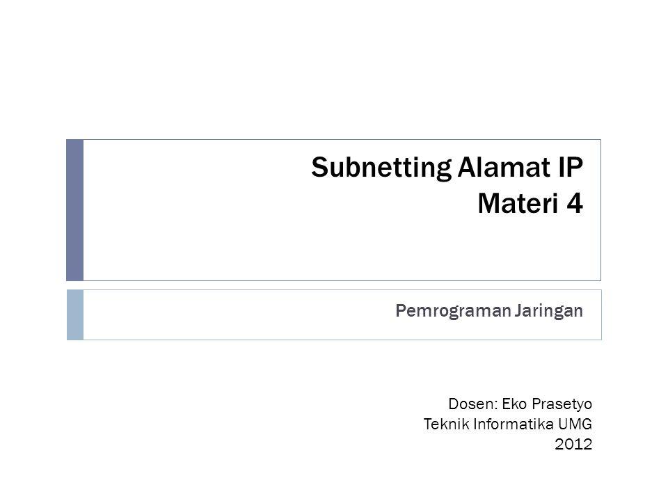 Subnetting Alamat IP Materi 4 Pemrograman Jaringan Dosen: Eko Prasetyo Teknik Informatika UMG 2012