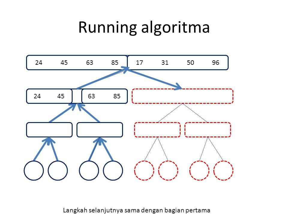 Running algoritma 85 24 63 45 24 4563 85 17 31 50 9624 45 63 85 Langkah selanjutnya sama dengan bagian pertama