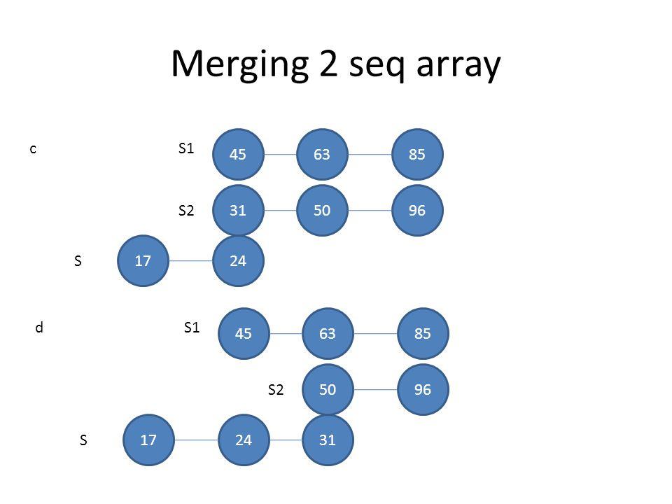 Merging 2 seq array S1 S2 S 456385 315096 c 1724 S1 S2 S 456385 5096 d 172431