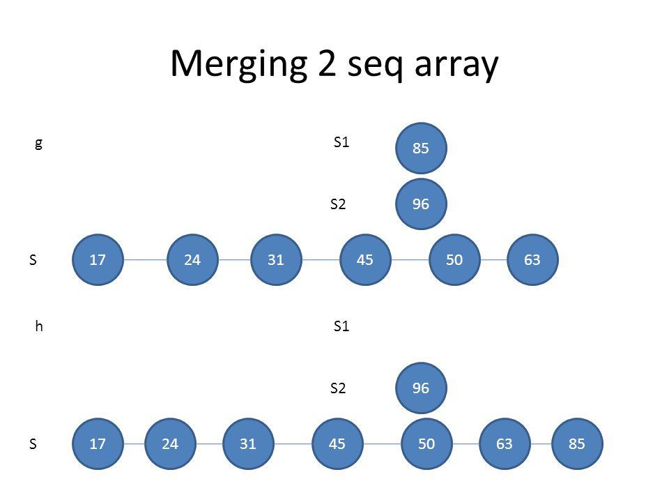 Merging 2 seq array S1 S2 S 85 96 g 172431455063 S1 S2 S 96 h 17243145506385