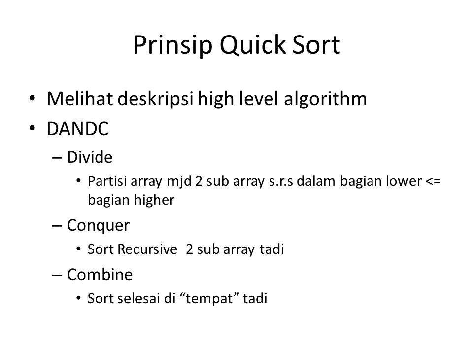 Prinsip Quick Sort Melihat deskripsi high level algorithm DANDC – Divide Partisi array mjd 2 sub array s.r.s dalam bagian lower <= bagian higher – Conquer Sort Recursive 2 sub array tadi – Combine Sort selesai di tempat tadi