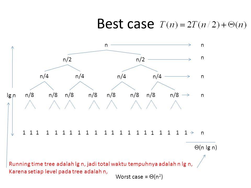 Best case n n/2 n/4 n/8 lg n 11111111111111111 1 111 n n n n n  (n lg n) Running time tree adalah lg n, jadi total waktu tempuhnya adalah n lg n, Karena setiap level pada tree adalah n, Worst case =  (n 2 )
