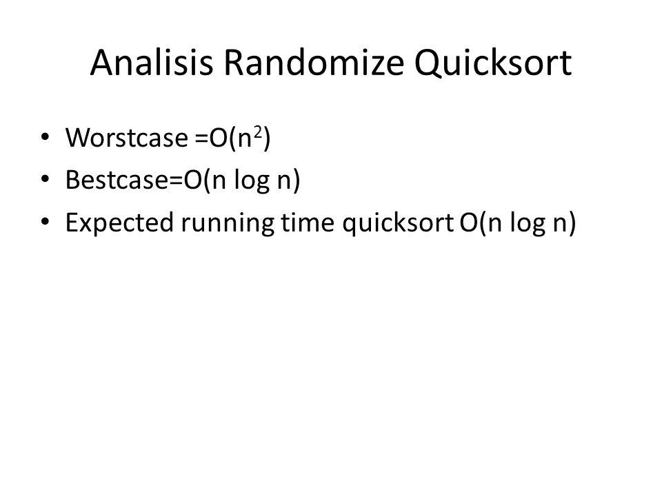 Analisis Randomize Quicksort Worstcase =O(n 2 ) Bestcase=O(n log n) Expected running time quicksort O(n log n)