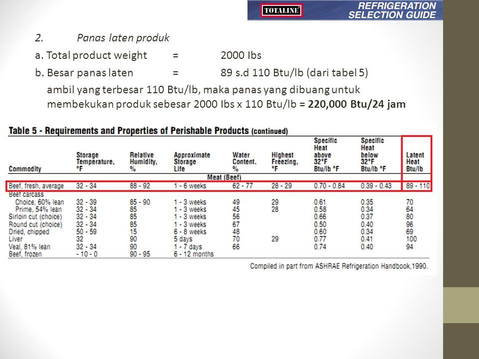 2.Panas laten produk a. Total product weight = 2000 Ibs b. Besar panas laten = 89 s.d 110 Btu/lb (dari tabel 5) ambil yang terbesar 110 Btu/lb, maka p