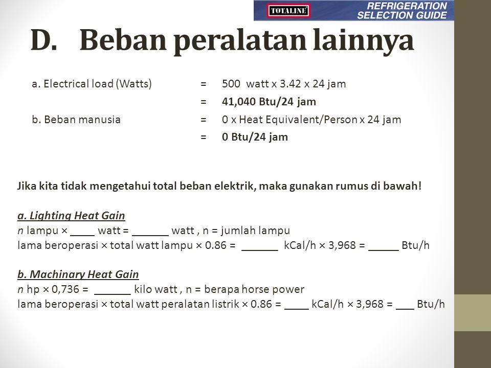 D. Beban peralatan lainnya a. Electrical load (Watts) =500 watt x 3.42 x 24 jam = 41,040 Btu/24 jam b. Beban manusia =0 x Heat Equivalent/Person x 24