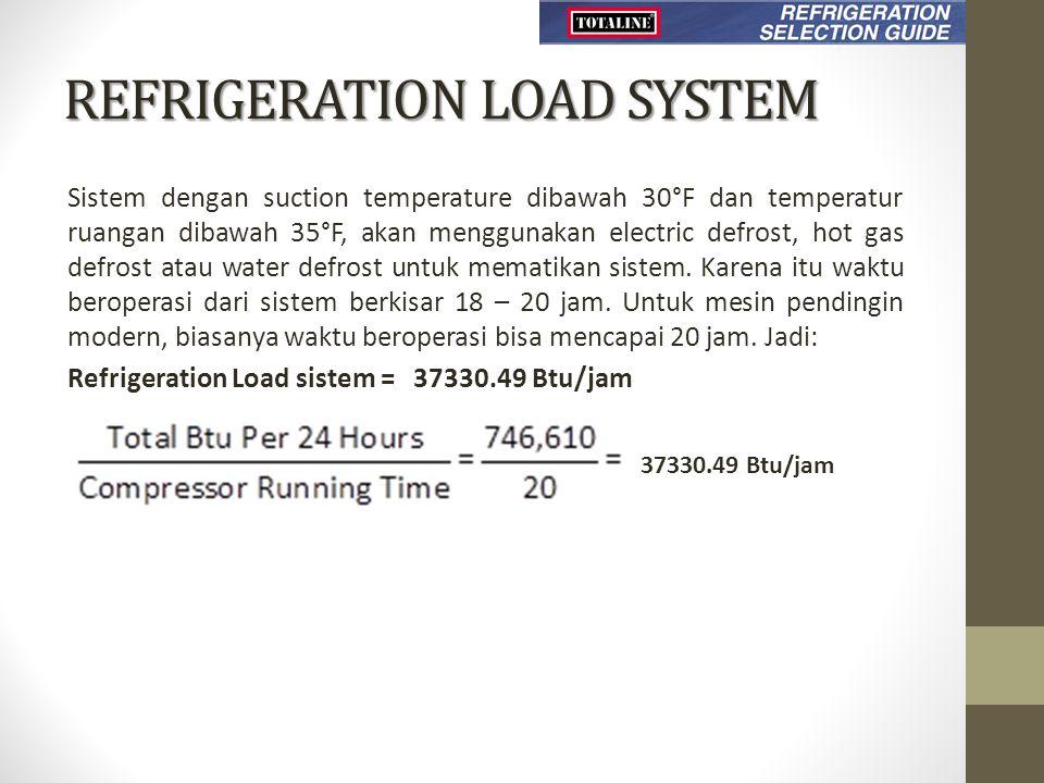 REFRIGERATION LOAD SYSTEM Sistem dengan suction temperature dibawah 30°F dan temperatur ruangan dibawah 35°F, akan menggunakan electric defrost, hot gas defrost atau water defrost untuk mematikan sistem.