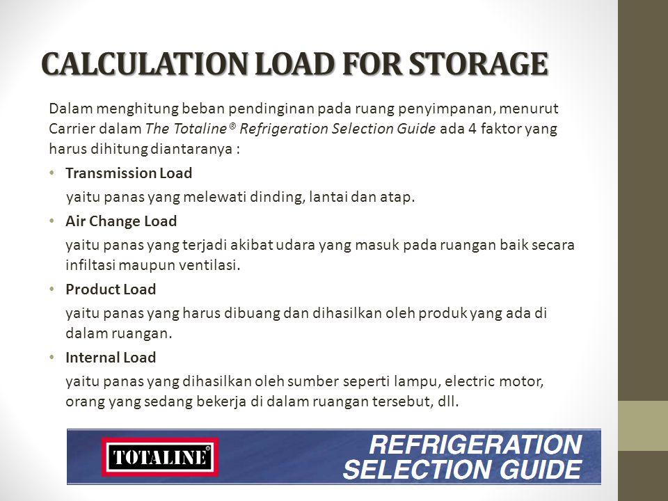 CALCULATION LOAD FOR STORAGE Dalam menghitung beban pendinginan pada ruang penyimpanan, menurut Carrier dalam The Totaline® Refrigeration Selection Gu