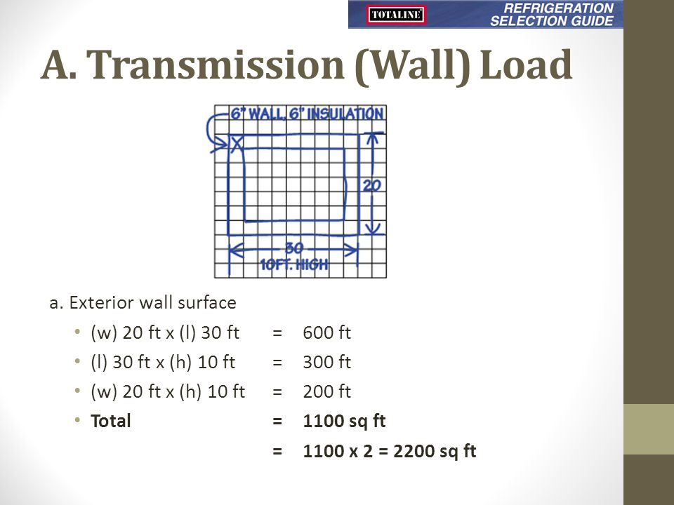 A. Transmission (Wall) Load a. Exterior wall surface (w) 20 ft x (l) 30 ft=600 ft (l) 30 ft x (h) 10 ft=300 ft (w) 20 ft x (h) 10 ft=200 ft Total =110