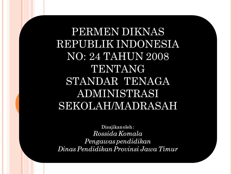 PERMEN DIKNAS REPUBLIK INDONESIA NO: 24 TAHUN 2008 TENTANG STANDAR TENAGA ADMINISTRASI SEKOLAH/MADRASAH Disajikan oleh : Rossida Komala Pengawas pendi