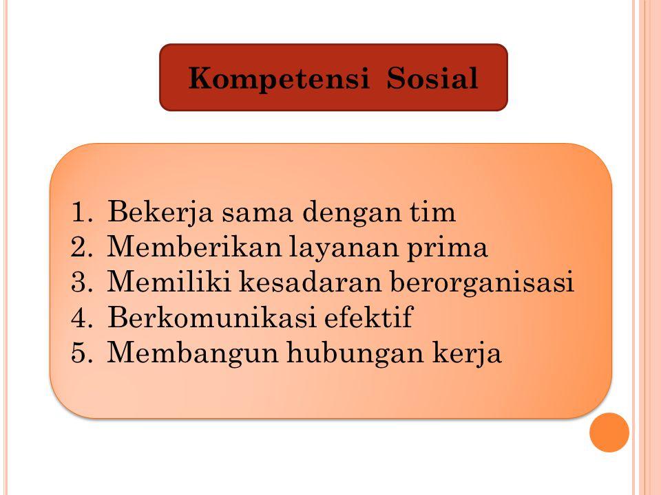Kompetensi Sosial 1.Bekerja sama dengan tim 2.Memberikan layanan prima 3.Memiliki kesadaran berorganisasi 4.Berkomunikasi efektif 5.Membangun hubungan