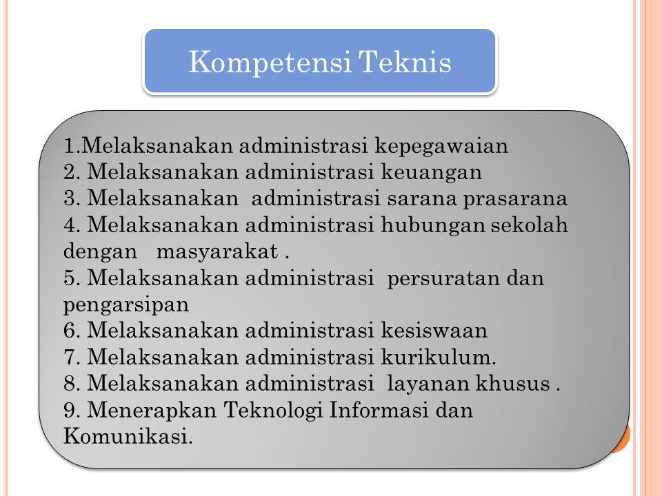 Kompetensi Teknis 1.Melaksanakan administrasi kepegawaian 2. Melaksanakan administrasi keuangan 3. Melaksanakan administrasi sarana prasarana 4. Melak