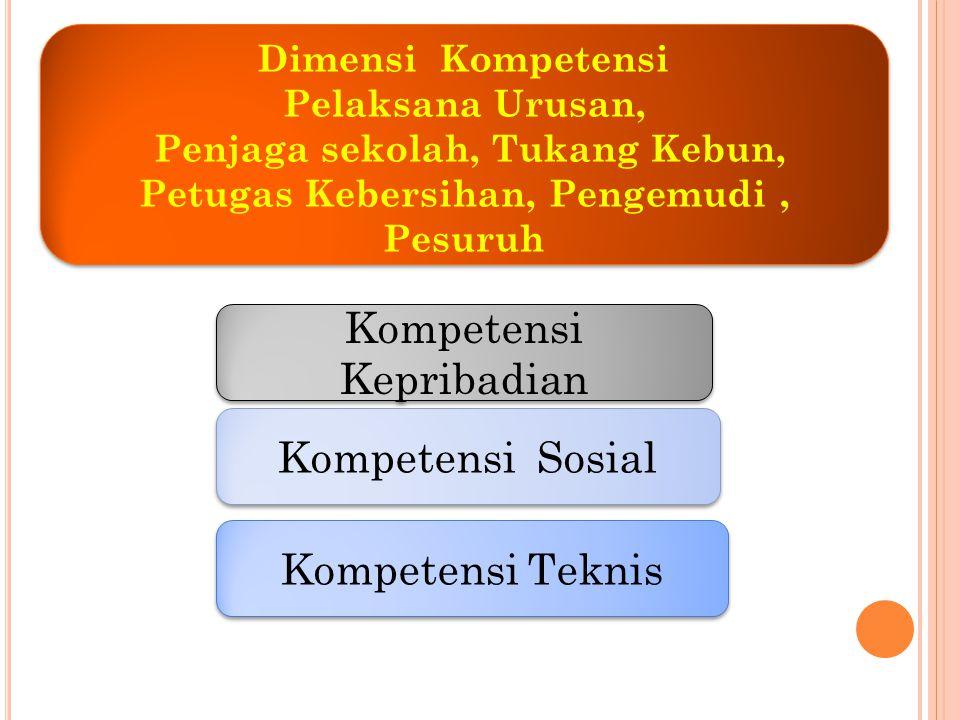 Kompetensi Kepribadian Kompetensi Sosial Kompetensi Teknis Dimensi Kompetensi Pelaksana Urusan, Penjaga sekolah, Tukang Kebun, Petugas Kebersihan, Pen