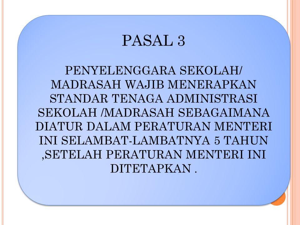 PASAL 3 PENYELENGGARA SEKOLAH/ MADRASAH WAJIB MENERAPKAN STANDAR TENAGA ADMINISTRASI SEKOLAH /MADRASAH SEBAGAIMANA DIATUR DALAM PERATURAN MENTERI INI
