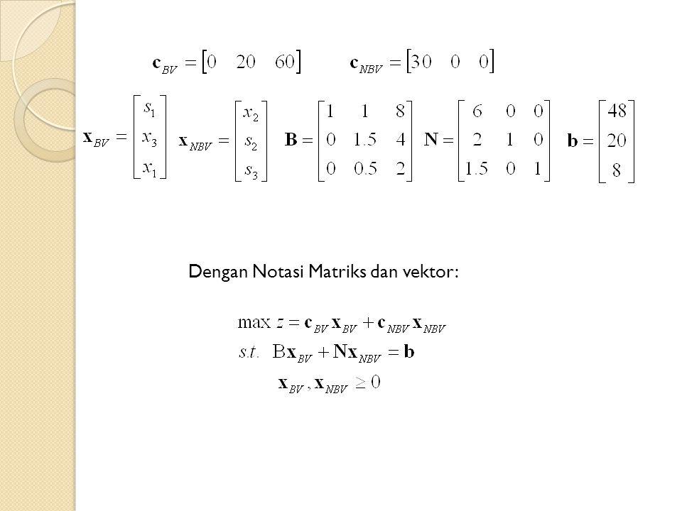 Dengan Notasi Matriks dan vektor: