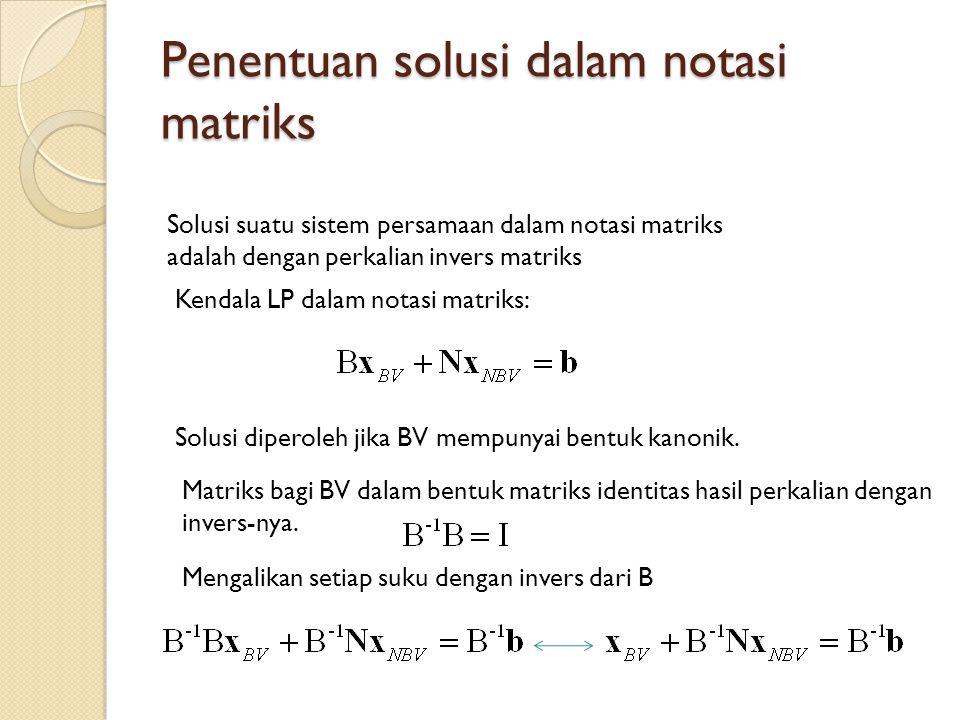 Penentuan solusi dalam notasi matriks Solusi suatu sistem persamaan dalam notasi matriks adalah dengan perkalian invers matriks Kendala LP dalam notasi matriks: Solusi diperoleh jika BV mempunyai bentuk kanonik.