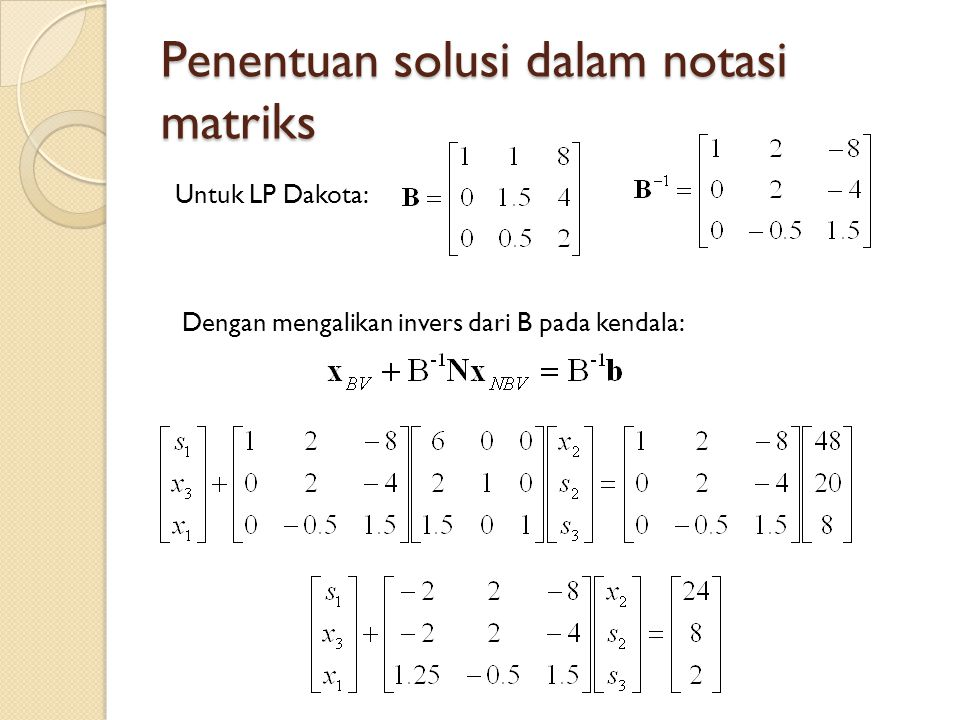 Penentuan solusi dalam notasi matriks Untuk LP Dakota: Dengan mengalikan invers dari B pada kendala: