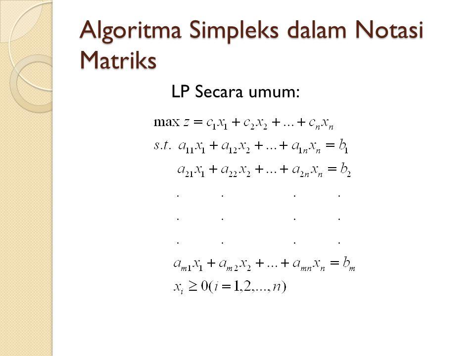 Tentukan matriks/vektor yang diperlukan: Kolom untuk peubah x 1 dalam kendala di tableau optimal: Di dalam tableau optimal, peubah BV pasti mempunyai bentuk kanonik, tinggal menentukan kolom untuk peubah NBV