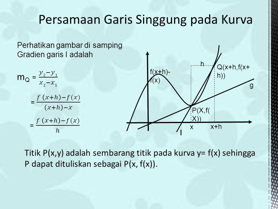 Titik P(x,y) adalah sembarang titik pada kurva y= f(x) sehingga P dapat dituliskan sebagai P(x, f(x)). P(X,f( X)) f(x+h)- f(x) h Q(x+h,f(x+ h)) x x+h