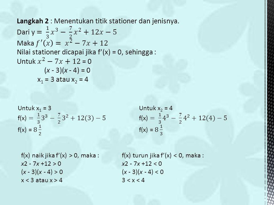 f(x) naik jika f'(x) > 0, maka : x2 - 7x +12 > 0 (x - 3)(x - 4) > 0 x 4 f(x) turun jika f'(x) < 0, maka : x2 - 7x +12 < 0 (x - 3)(x - 4) < 0 3 < x < 4