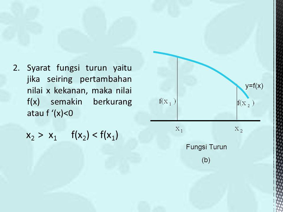 2.Syarat fungsi turun yaitu jika seiring pertambahan nilai x kekanan, maka nilai f(x) semakin berkurang atau f '(x)<0 x 2 > x 1 f(x 2 ) < f(x 1 ) y=f(