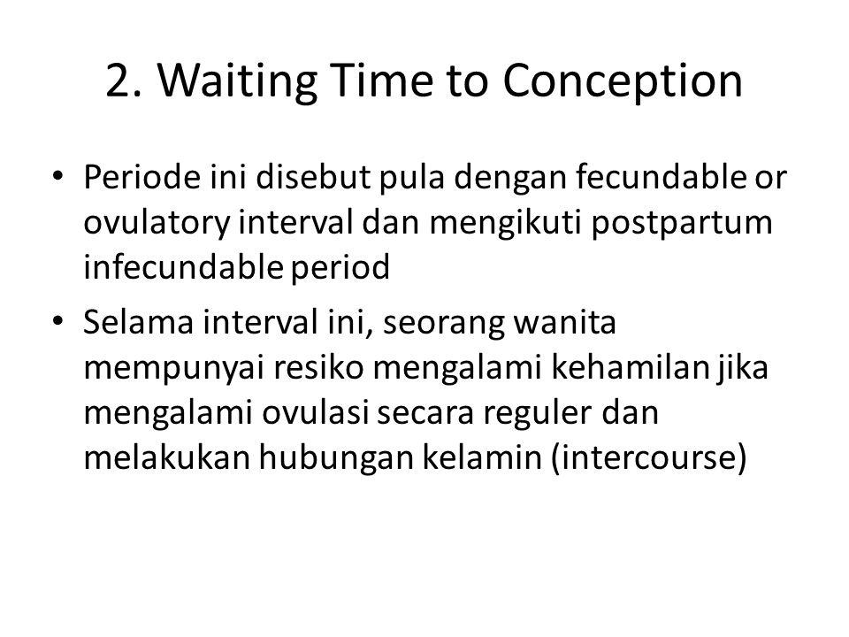 2. Waiting Time to Conception Periode ini disebut pula dengan fecundable or ovulatory interval dan mengikuti postpartum infecundable period Selama int