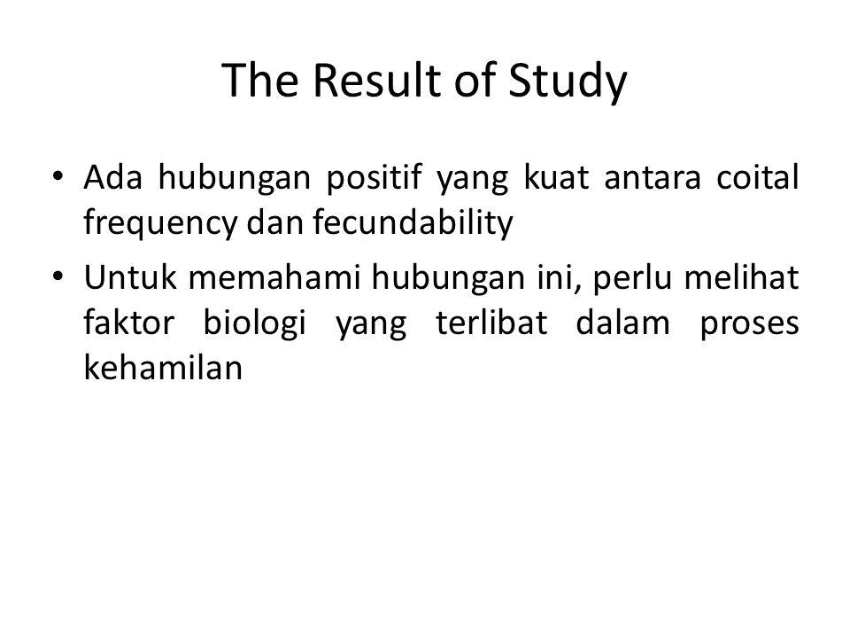 The Result of Study Ada hubungan positif yang kuat antara coital frequency dan fecundability Untuk memahami hubungan ini, perlu melihat faktor biologi yang terlibat dalam proses kehamilan