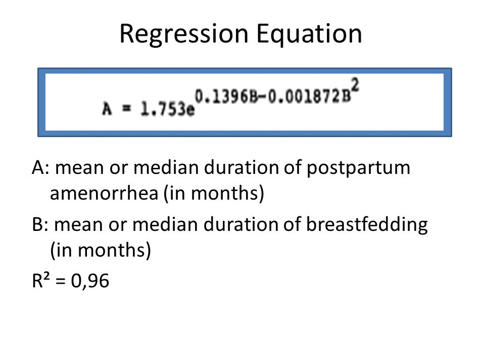 Regression Equation A: mean or median duration of postpartum amenorrhea (in months) B: mean or median duration of breastfedding (in months) R² = 0,96