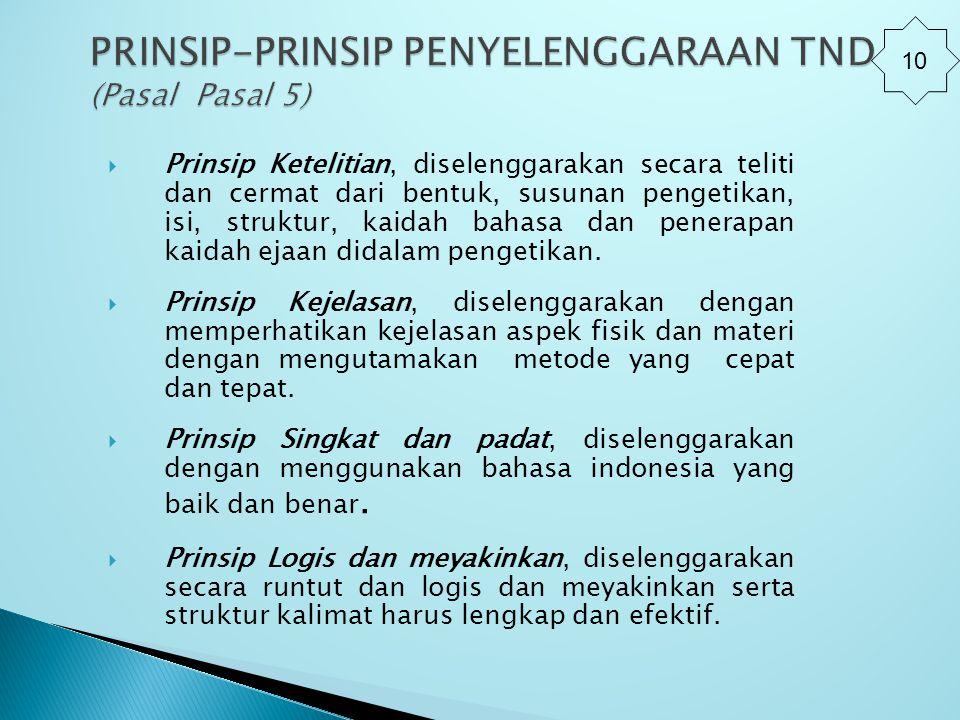 Prinsip Ketelitian, diselenggarakan secara teliti dan cermat dari bentuk, susunan pengetikan, isi, struktur, kaidah bahasa dan penerapan kaidah ejaa