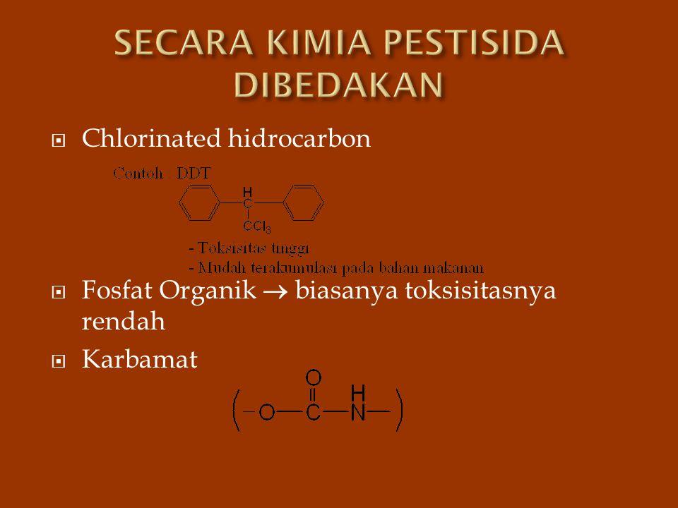  Chlorinated hidrocarbon  Fosfat Organik  biasanya toksisitasnya rendah  Karbamat