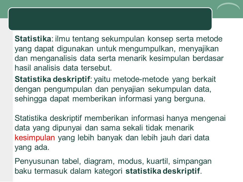 Statistika: ilmu tentang sekumpulan konsep serta metode yang dapat digunakan untuk mengumpulkan, menyajikan dan menganalisis data serta menarik kesimp