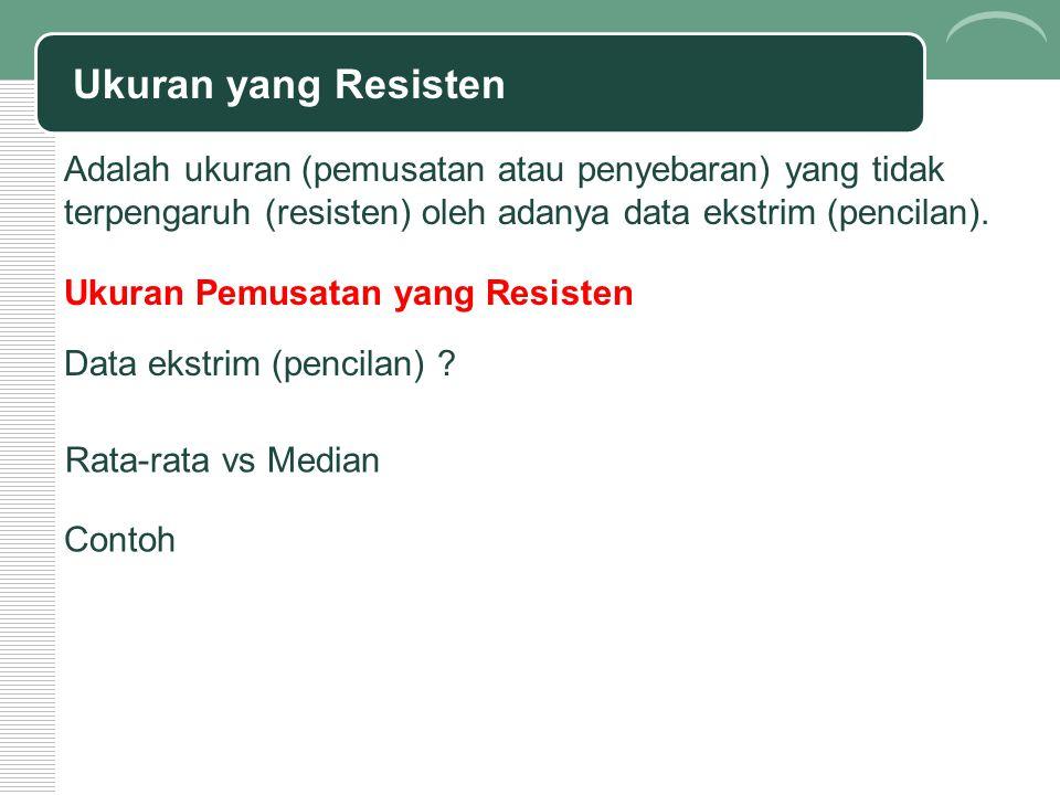 Ukuran yang Resisten Adalah ukuran (pemusatan atau penyebaran) yang tidak terpengaruh (resisten) oleh adanya data ekstrim (pencilan). Rata-rata vs Med