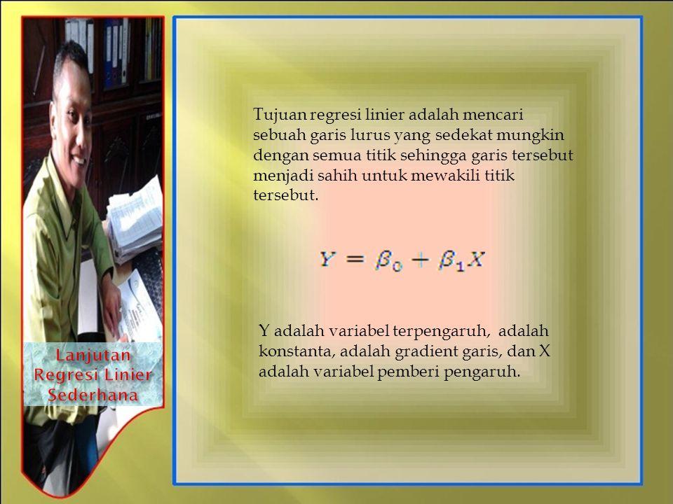 Tujuan regresi linier adalah mencari sebuah garis lurus yang sedekat mungkin dengan semua titik sehingga garis tersebut menjadi sahih untuk mewakili t